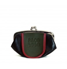 Purse tricolor with kiss-clasp - BLACK - DARK GREEN - RED
