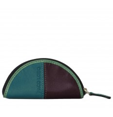 Purse Troika semicircle - TURQUOISE - EGGPLANT - GREEN WATER