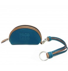 Purse with straps keyring - LIGHT BLUE - WALNUT