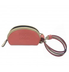 Purse with straps keyring - CORAL PINK - SAND