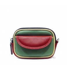 Purse tricolour zipped - GREEN WATER - RED - SAND