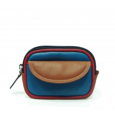 Purse tricolour zipped - LIGHT BLUE - WALNUT - RED