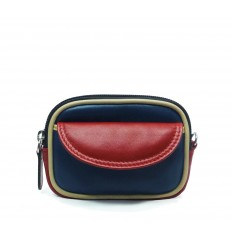 Purse tricolour zipped - DARK BLUE - RED - SAND