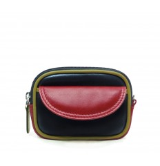 Purse tricolour zipped - BLACK - RED - DIJON