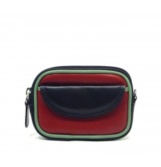 Purse tricolour zipped - RED - BLACK - GREEN WATER