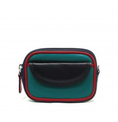 Purse tricolour zipped - TURQUOISE - BLACK - RED