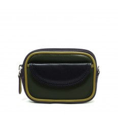 Purse tricolour zipped - DARK GREEN - BLACK - DIJON