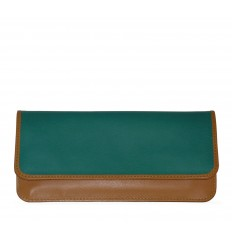 Elongated wallet Uffizi - TURQUOISE - WALNUT