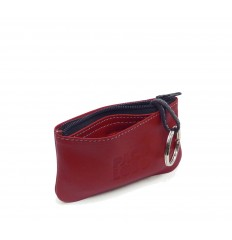 Keyring with central zip and sections - RED
