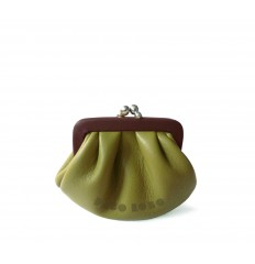 Purse retro look with kiss-clasp - DIJON - EGG-PLANT