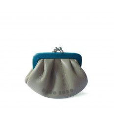 Purse retro look with kiss-clasp - STONE-LIGHT BLUE
