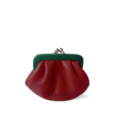 Purse retro look with kiss-clasp - RED-BOTTLE GREEN