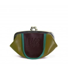 Purse tricolor with kiss-clasp - MUSTARD - EGGPLANT - TURQUOISE