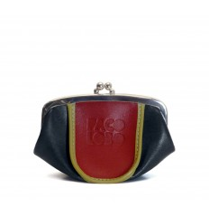 Purse tricolor with kiss-clasp - BLACK - RED - DIJON