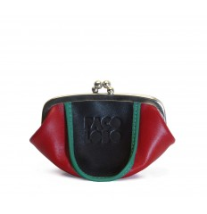 Purse tricolor with kiss-clasp - RED - BLACK - TURQUOISE