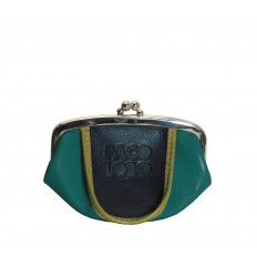 Purse tricolor with kiss-clasp - TURQUOISE - BLACK - DIJON