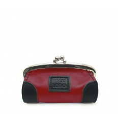 Purse with kiss-clasp and corners - RED-BLACK