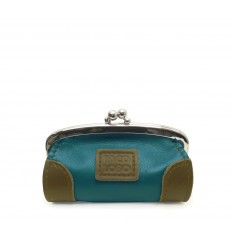 Purse with kiss-clasp and corners - TURQUOISE - MUSTARD