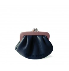 Purse retro look with kiss-clasp - DARK BLUE-ROSY BROWN
